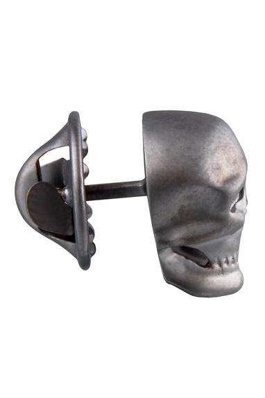 Silver brass statement skull tie pin