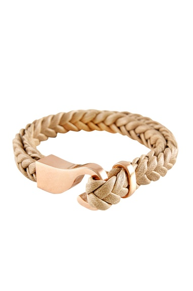 Beige brass braided leatherette wristband