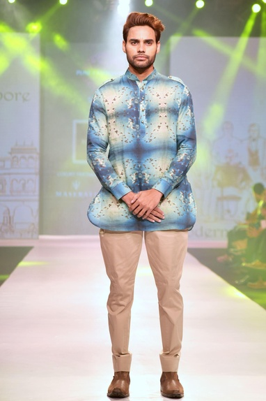 Blue & white bird printed linen short kurta