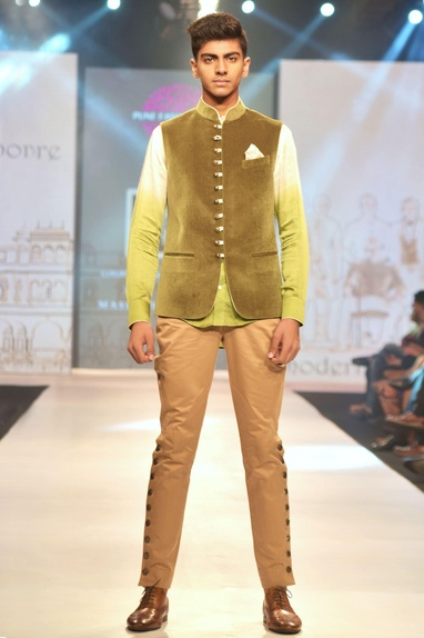 Green luxe velvet nehru jacket