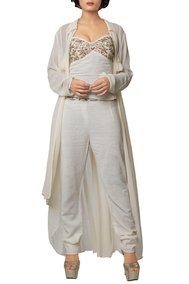 Ivory silk georgette & khadi cotton embroidered crop top with slim pants & long jacket