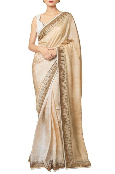 Multi-colored silk habutai & silk crepe printed & ikat work sari with blouse