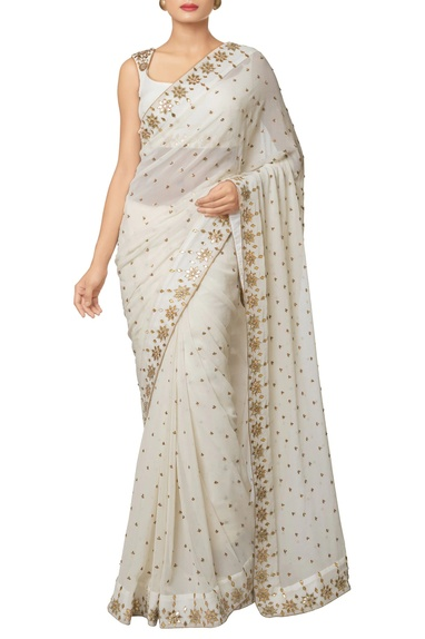 Ivory silk georgette & silk crepe gota embroidered saree with gota embroidered blouse