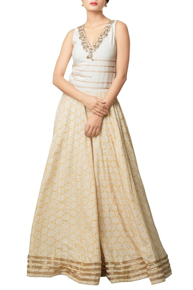 Multi-colored khadi cotton embroidered long dress