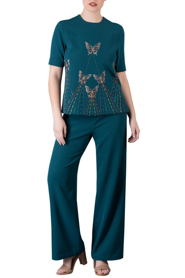 Emerald butterfly top with pants