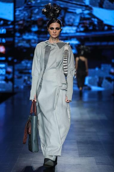 Grey poly wool embellished maxi dress