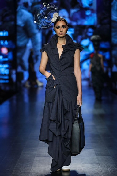 Black poly cotton striped deconstructed waist coat & draped maxi skirt