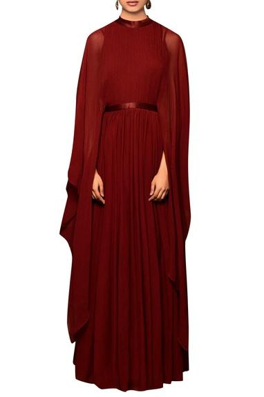 Burgandy chiffon solid cape gown