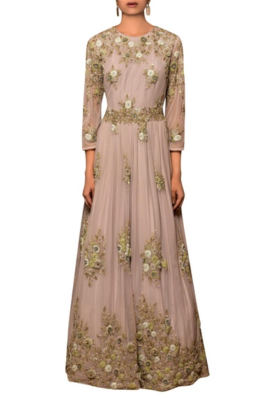 Pastel mauve tulle net & silk chiffon machine & hand embroidered gown