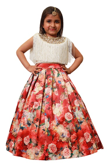 Floral lehenga with fringe embroidered blouse.