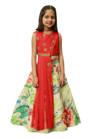 Floral lehenga with draped embroidered blouse