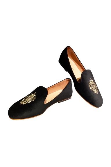 Black velvet handcrafted loafers