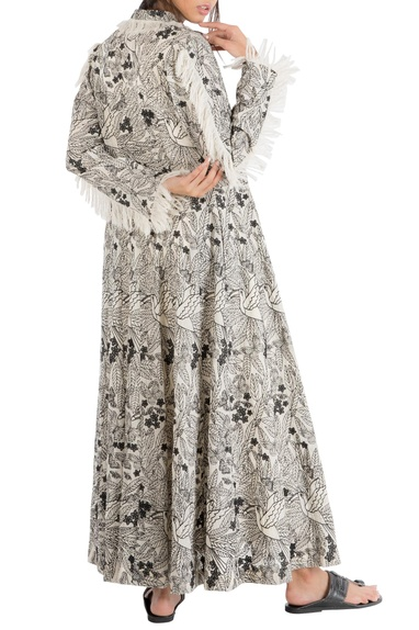 Ivory tropical embroidered shirt dress with frayed edges