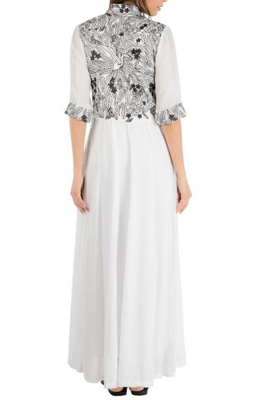 White panel style maxi shirt dress