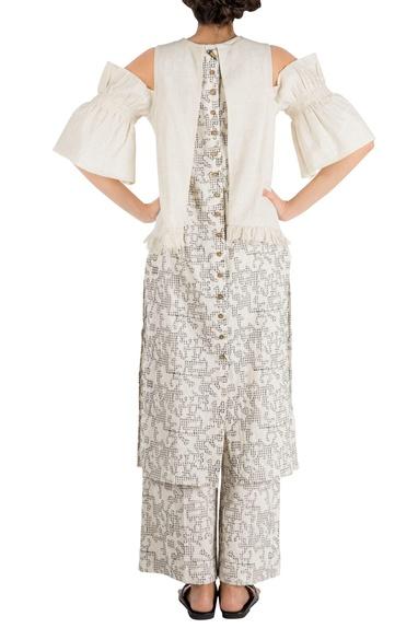 Ivory khadi embroidered straight loose pants