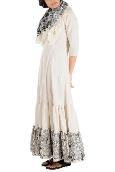 Ivory khadi maxi dress with embroidered hemline