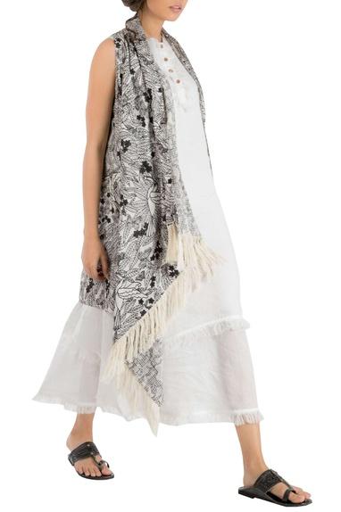 White double layer linen tunic
