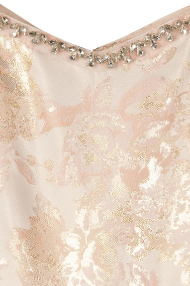 Rose pink brocade & net frilly gown