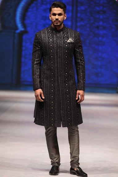 Blue & grey sequin & thread embroidered sherwani with kurta & churidar