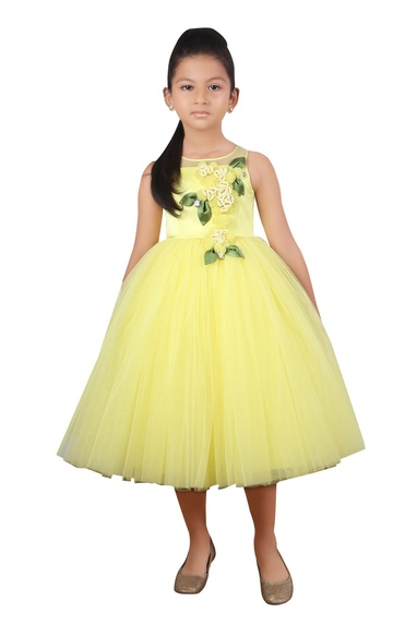 Butter cup yellow flared dress