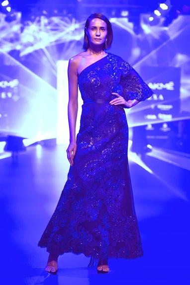 One-shoulder floral applique gown