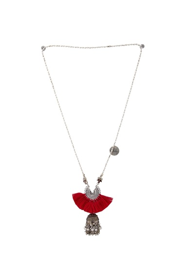 Red & silver tasseled matinee necklace