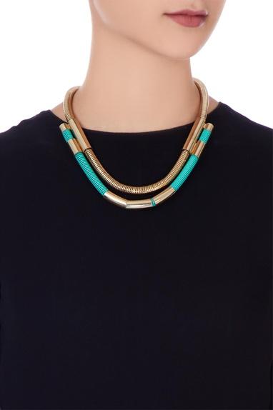 Turquoise blue & gold embellished princess necklace