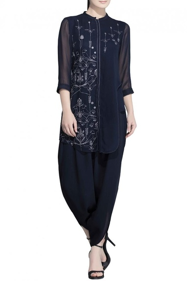 Blue parrot embroidered tunic