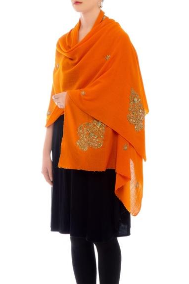 Orange embroidered cashmere stole