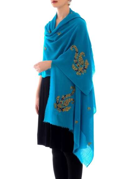 Turquoise embroidered cashmere stole