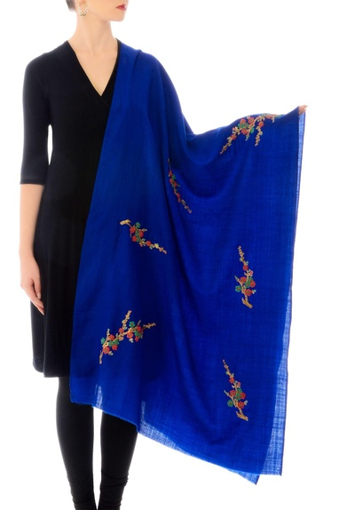 Electric blue embroidered cashmere stole