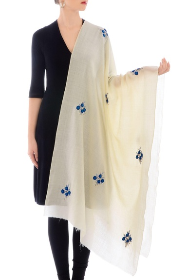 Off-white resham work cashmere stole