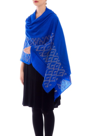 Royal blue aari work cashmere stole