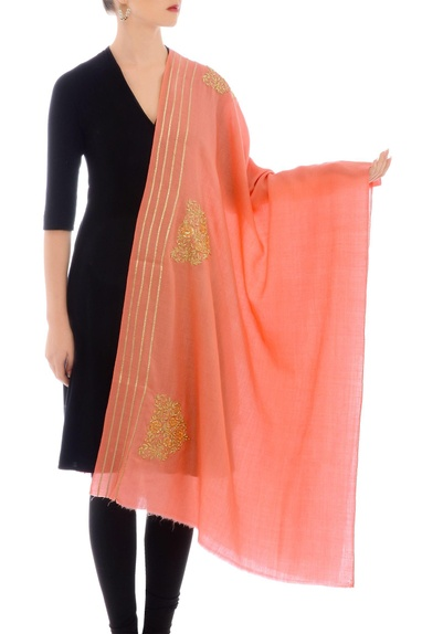 Peach embroidered cashmere stole