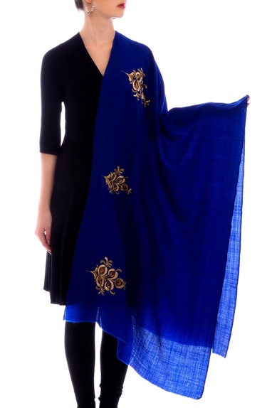 Midnight blue embroidered stole
