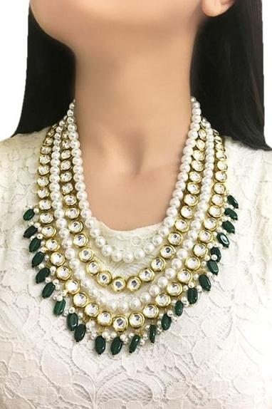 Gold plated multi-layered kundan necklace