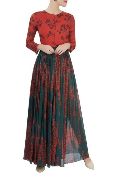 Red & green printed dress with a gathered waist
