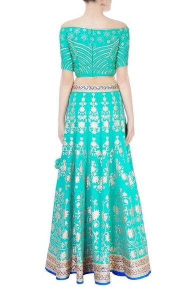 Turquoise blue embellished lehenga set