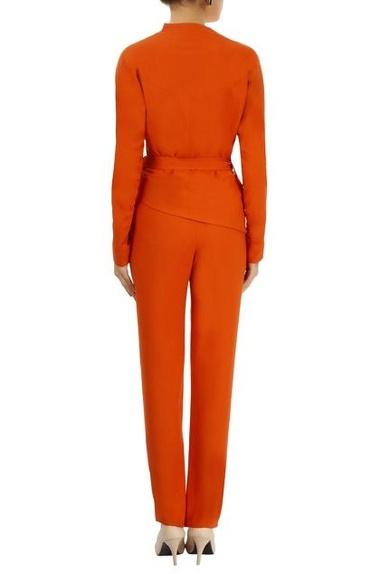 Orange asymmetric top & trousers