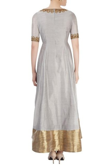 Grey anarkali with embroidery