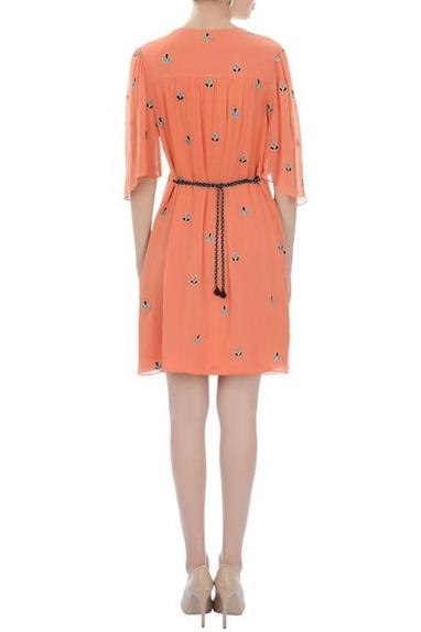 Orange embroidered short dress
