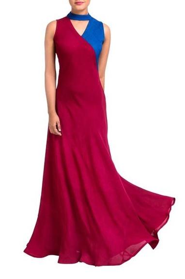 Maroon & blue wrap style dress.