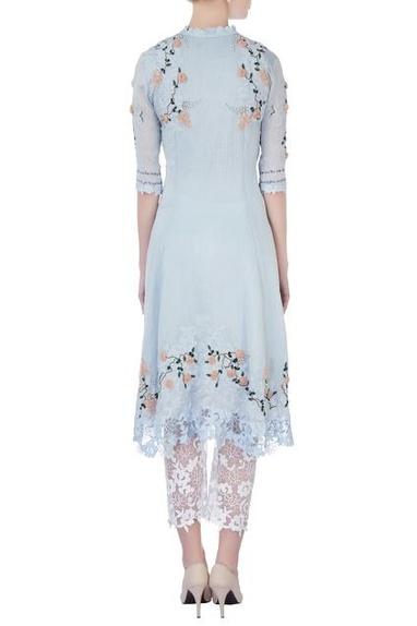 Sky blue rose embellished kurta with pants