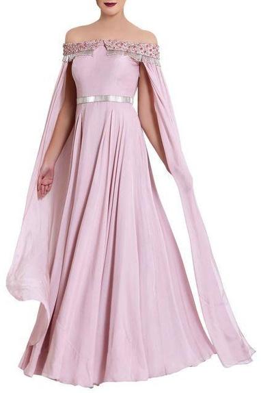 Lavendar zardozi work gown