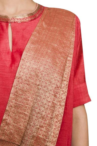 Full length kurta with attached drape