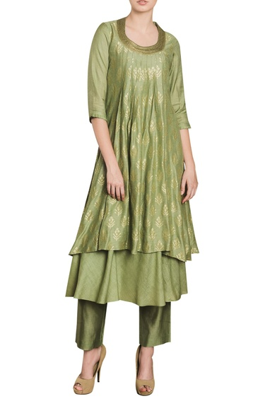 Pleated layered kurta