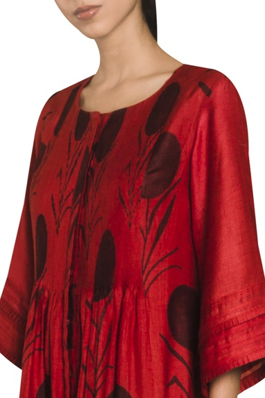 Printed tunic with front opening