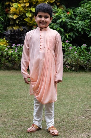 Cowl draped kurta with white churidar