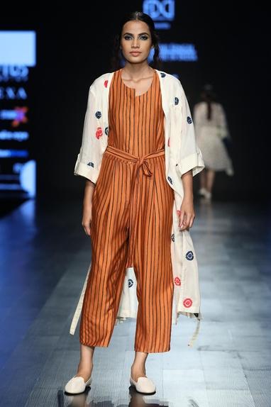 Stripe printed jumpsuit