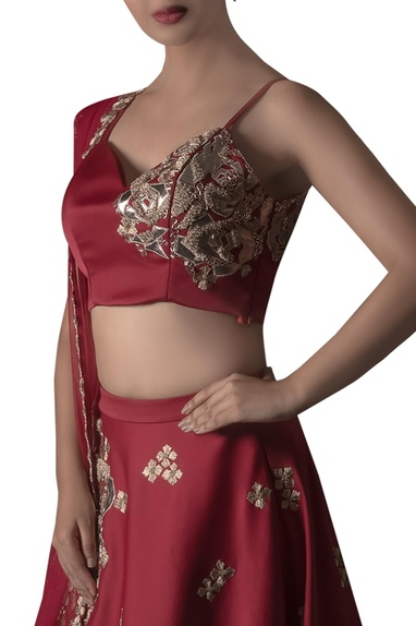 Leather Rose Patch Embroidered Lehenga Set
